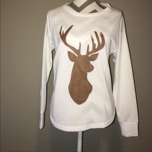 1cbdd7ddc04 Long sleeve Faux Leather Deer Sweater